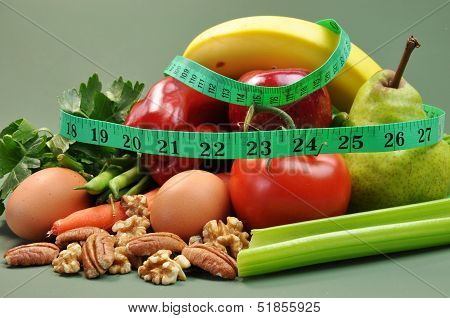 Group Of Wholesome, Organic Food, Including Pear, Apple, Tomato, Eggs, Nuts, Pecans, Walnuts, Carrot