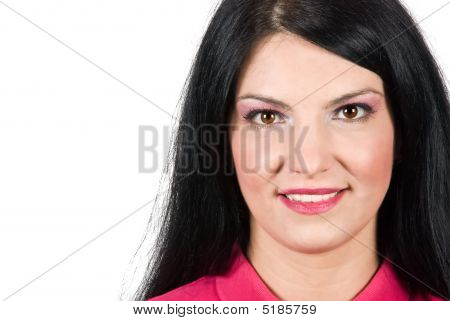 Portrait Of Brunette Woman On White Background