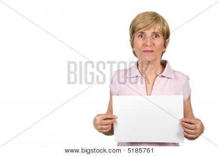 Senior Woman With Blank Page
