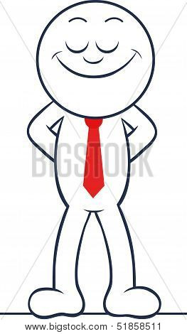 Cartoon Businessman Happy