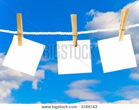 Blanks White Note Against The Blue Sky