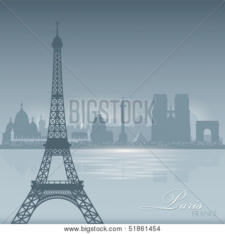 Paris France Skyline City Silhouette Background
