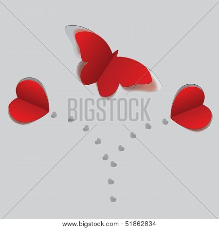 Red Paper Butterfly And Hearts