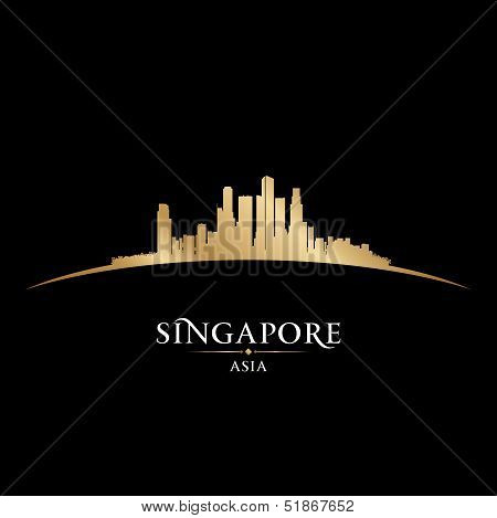 Singapore Asia City Skyline Silhouette Black Background
