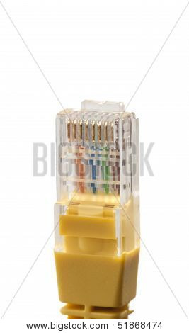 Yellow Network Cable With Rj45 Connector On White Background
