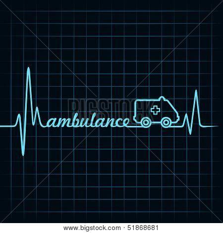 heartbeat make ambulance text and symbol stock vector