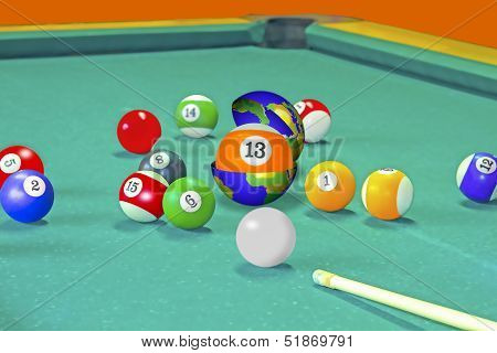 Pool table in which the ball 13 contained inside the earth globe