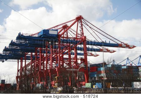 Crane At Landing Stage - Hamburg Harbor, Germany (A)