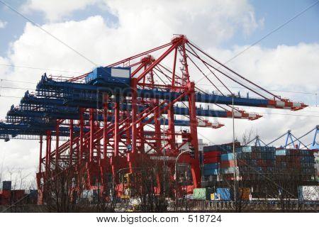 Crane At Landing Stage - Hamburg Harbor, Germany (A)