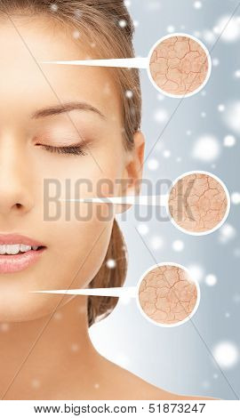 health and beauty concept - face of beautiful woman