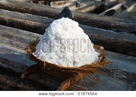 Basket With Fresh Extracted Sea Salt In Bali, Indonesia