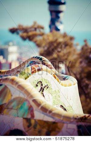 Park Guell designed by Antonio Gaudi in Barcelona Spain In Barcelona, Spain.