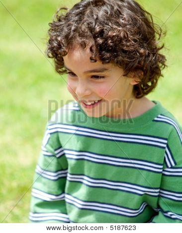 Little Boy Portrait Outdoors