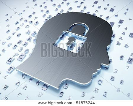Data concept: Silver Head Whis Padlock on digital background