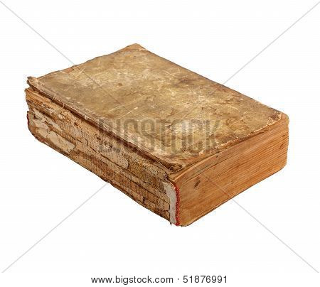 Ancient Old Lacerated Book On A White Background Isolated