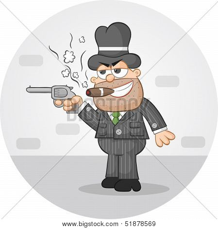 Cartoon Mafia Boss Aiming Gun
