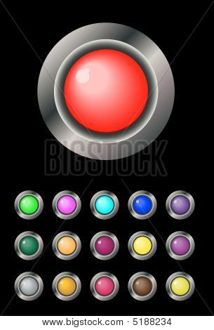 Multi-coloured Round Buttons In A Frame