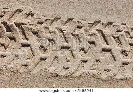 Tire Track In Sand