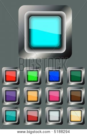 Square Buttons In A Metal Frame
