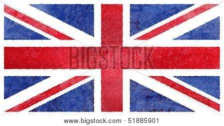 Grunge UK flag. British flag with dirty grunge texture