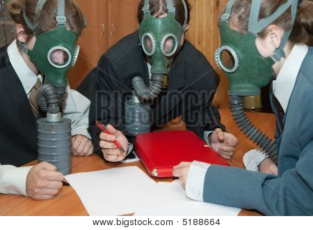 Businessmans  In A Gas Mask