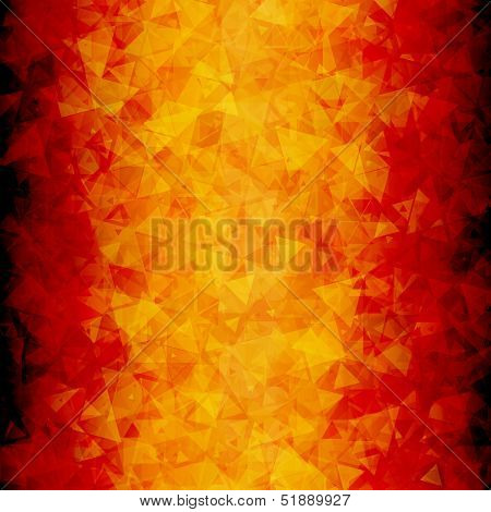 Fiery abstract scattered triangle background