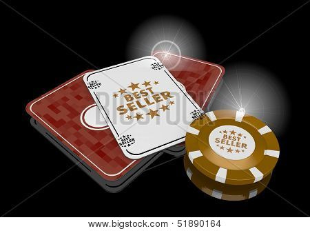 Illustration Of A Good Best Seller Sign  On Poker Cards
