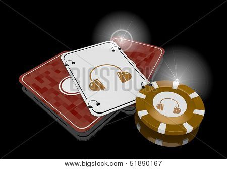3D Render Of A Glaring Headphones Icon  On Poker Cards