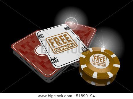 3D Graphic Of A Exclusive Free Download Sign  On Poker Cards