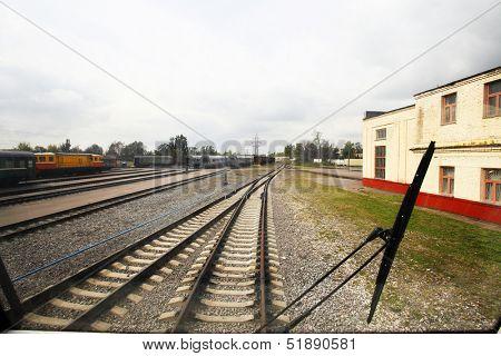 Interior of a train operator's cab