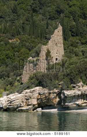 Old Destroyed Venetian Sentry Serf Tower On Coast