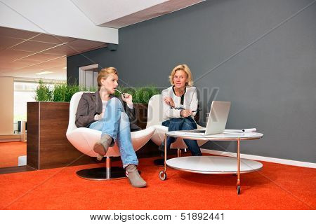 Two colleagues discussing a project in an informal office setting, with laptop, notes and both women casually dressed
