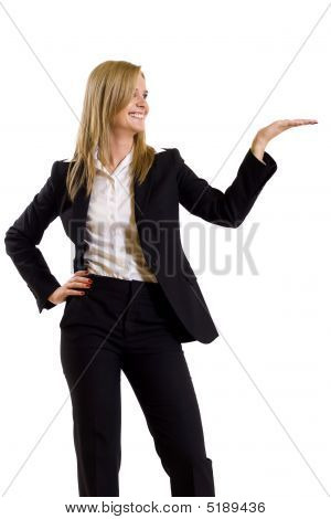 Attractive Businesswoman Presenting Something
