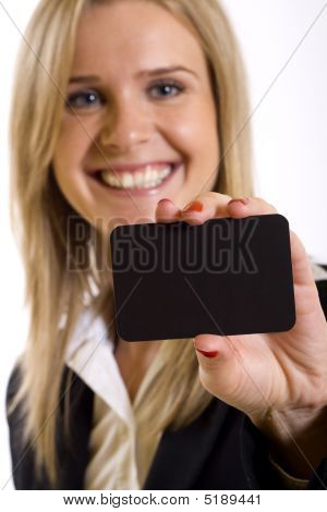 Attractive Business Woman Holding A Blank Card