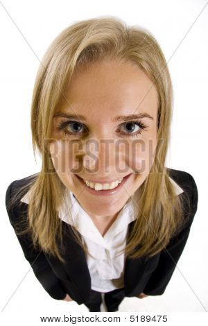Wide Angle Picture Of An Attractive Businesswoman