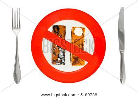 Cakes On Plate - Dieting Sign