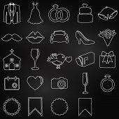 stock photo of ring-dove  - Vector Collection of Chalkboard Wedding Doodle Icons - JPG