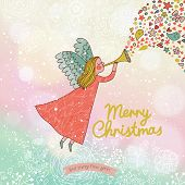pic of little angel  - Childish Merry Christmas card in vector - JPG