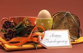 picture of heartfelt  - Happy Thanksgiving breakfast for your special one with toast and egg with coffee or tea in an orange polka dot cup and saucer with heartfelt gift tag - JPG