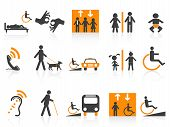 image of blind man  - isolated Accessibility icons set on white background - JPG
