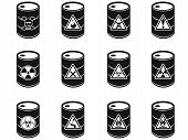 stock photo of toxic substance  - isolated Toxic hazardous waste barrels icon on white background - JPG