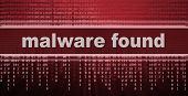 stock photo of malware  - Malware found text - JPG