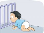 foto of baby diapers  - Illustration of a Baby Boy Being Prevented by a Baby Gate from Falling Down the Stairs - JPG