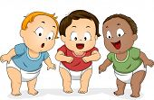 Illustration of a Group of Baby Boys in Diapers Looking Downwards