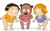 stock photo of diaper  - Illustration of a Group of Baby Girls in Diapers Looking Downwards - JPG