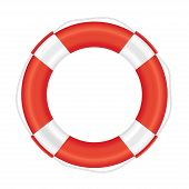 foto of salvation  - Lifebuoy with red stripes and rope  - JPG