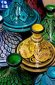 image of tagine  - Colorful Moroccan pots (tagines) for traditional cooking.