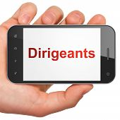 Business concept: Dirigeants(french) on smartphone