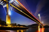 image of hong kong bridge  - Ting Kau suspension bridge in Hong Kong at night - JPG