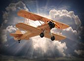 picture of biplane  - Retro style picture of the biplane - JPG